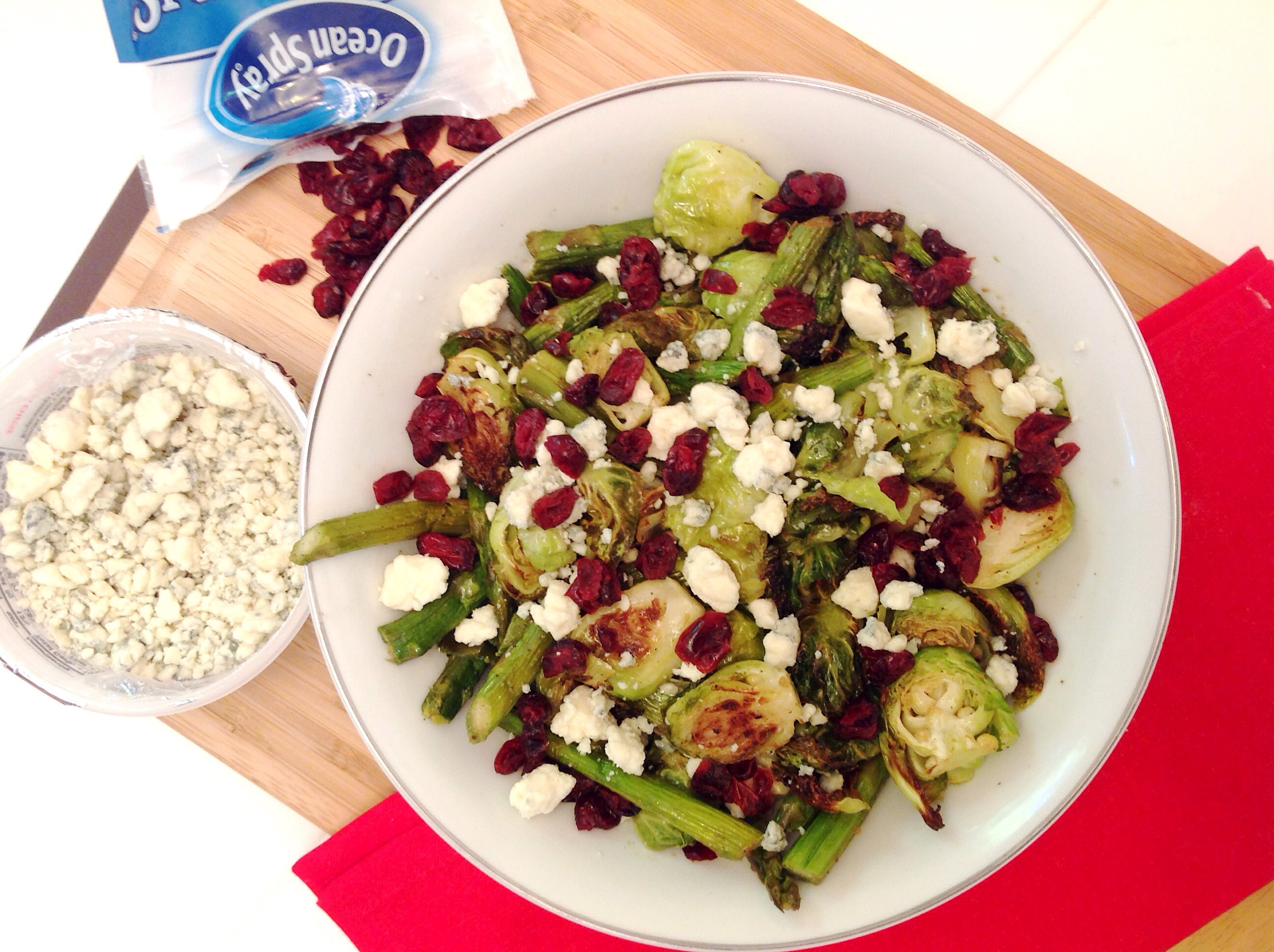 Roasted brussel sprout & aspargus salad with blue cheese & cranberries