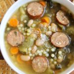 Crock Pot Sausage, Spinach and Bean Soup