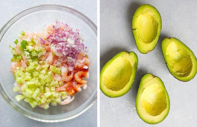 Shrimp mixture and avocados