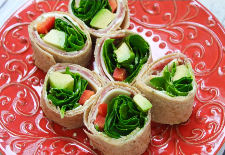 Spinach and Salami Lunch Roll Ups