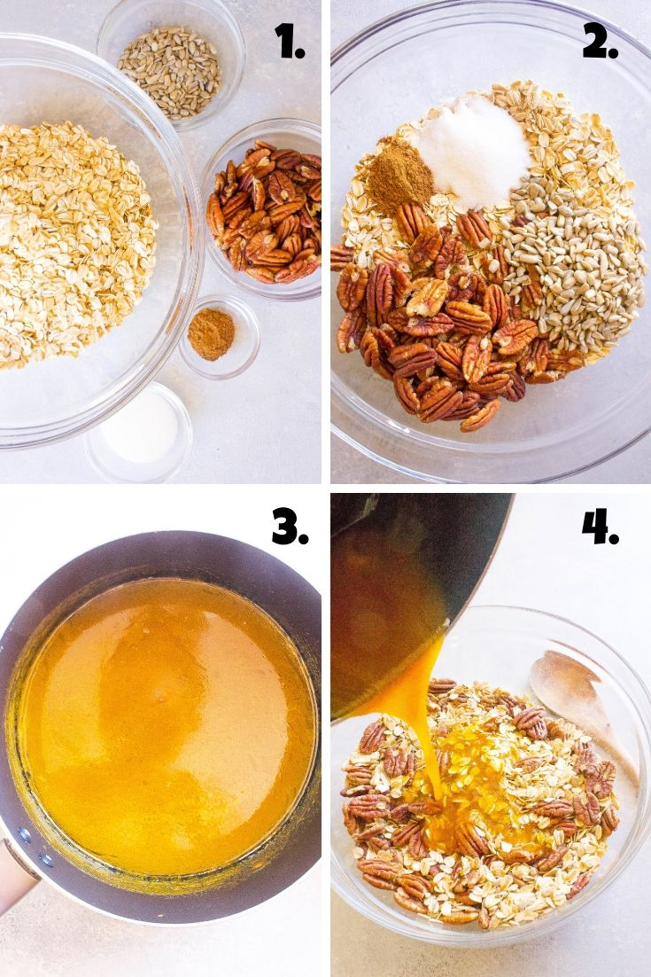 Steps to make pumpkin spice granola