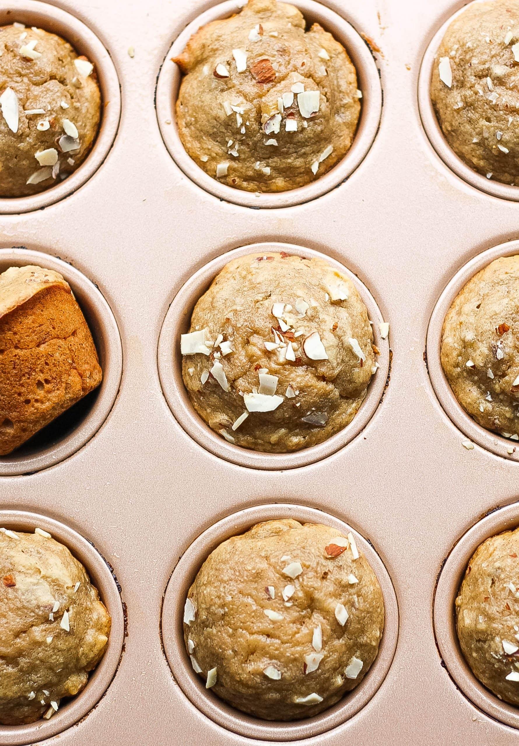 banana muffins in muffin tin