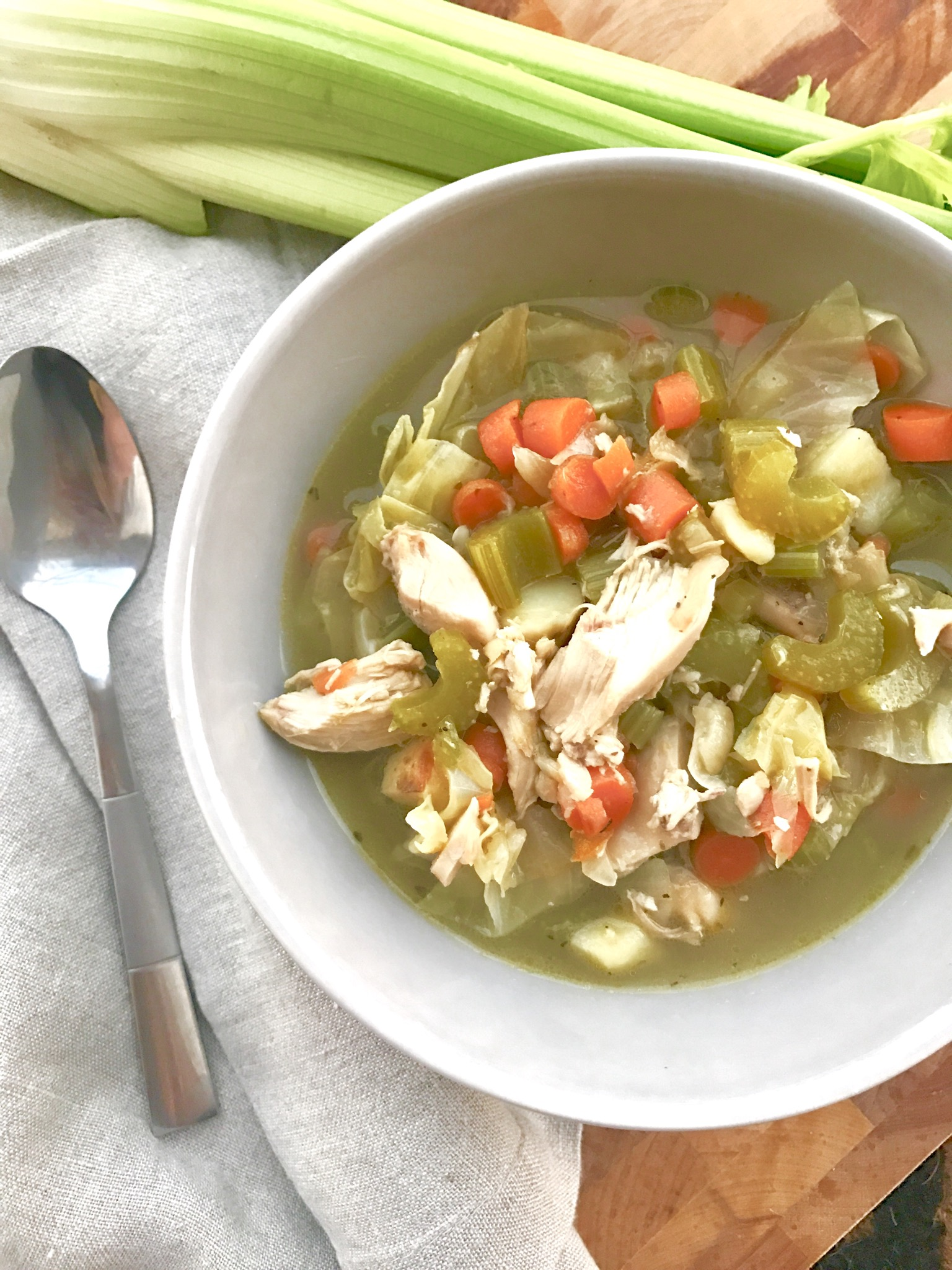 Roasted Cabbage and Chicken Fall Soup