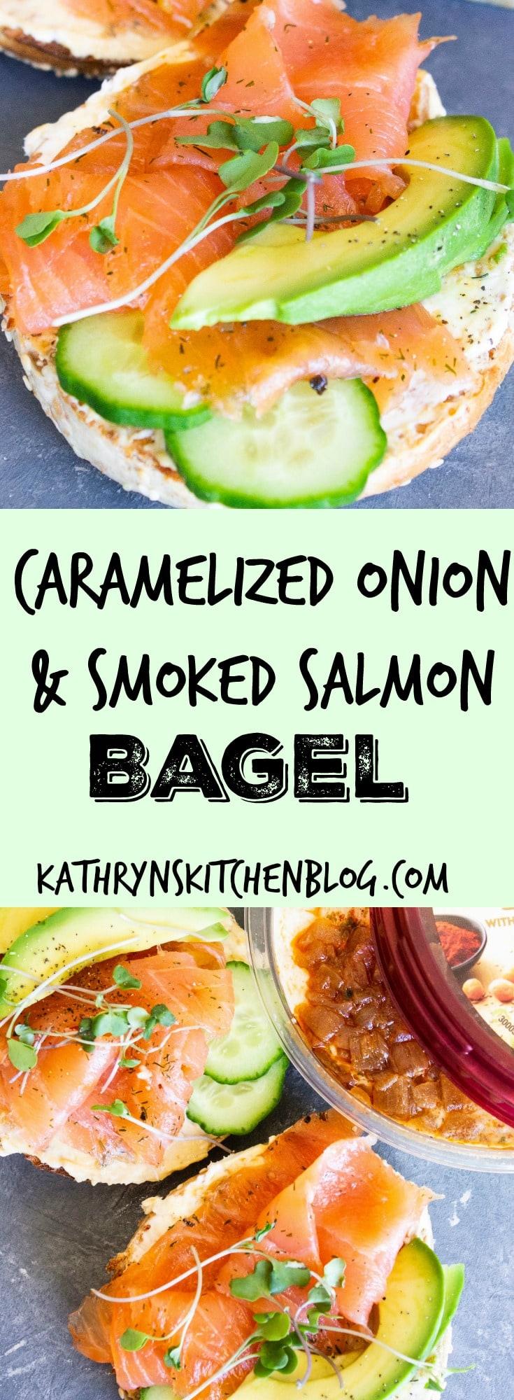 Caramelized Onion & Salmon Bagel