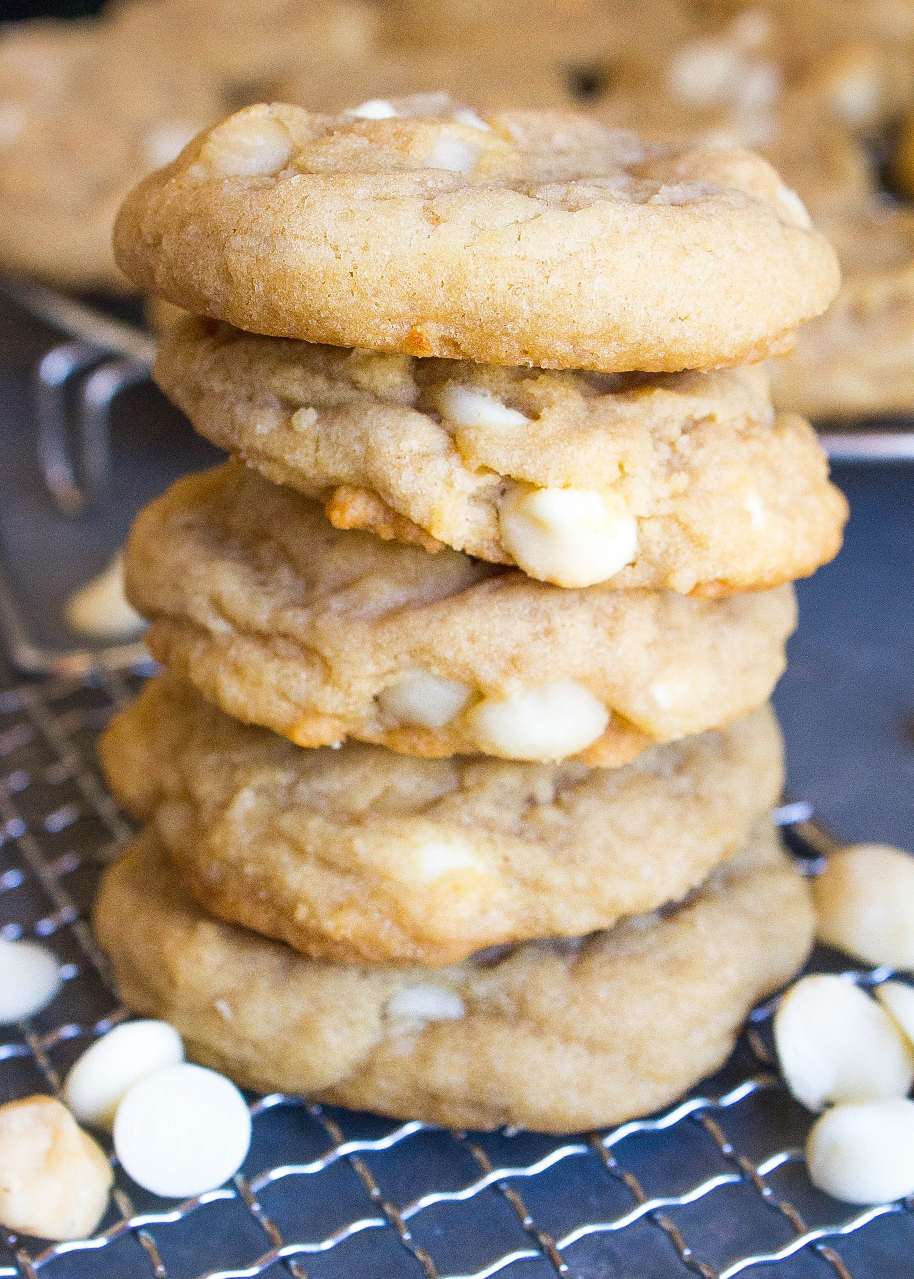Stacked White Chocolate Macadamia Nut Cookies