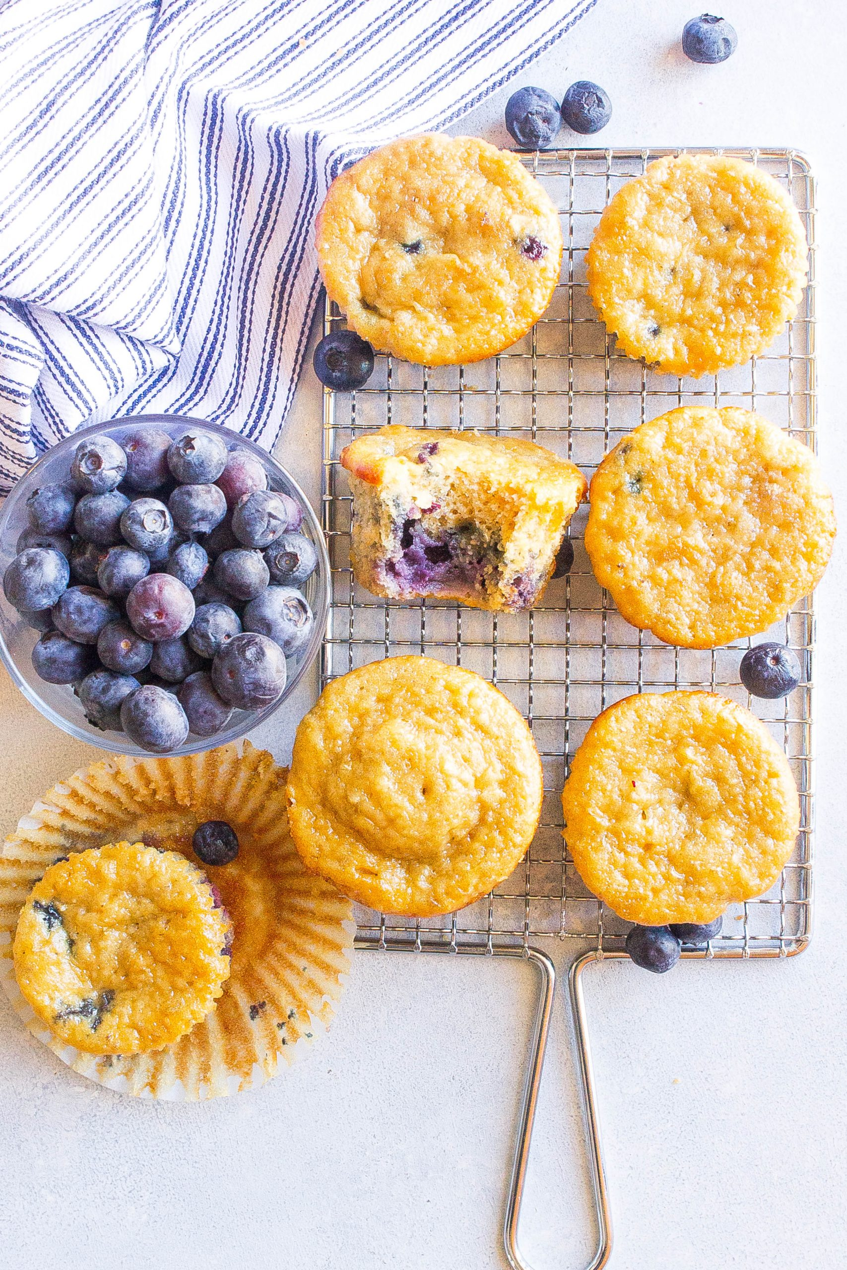 Blueberry Oatmeal Breakfast Muffins on cooling rack