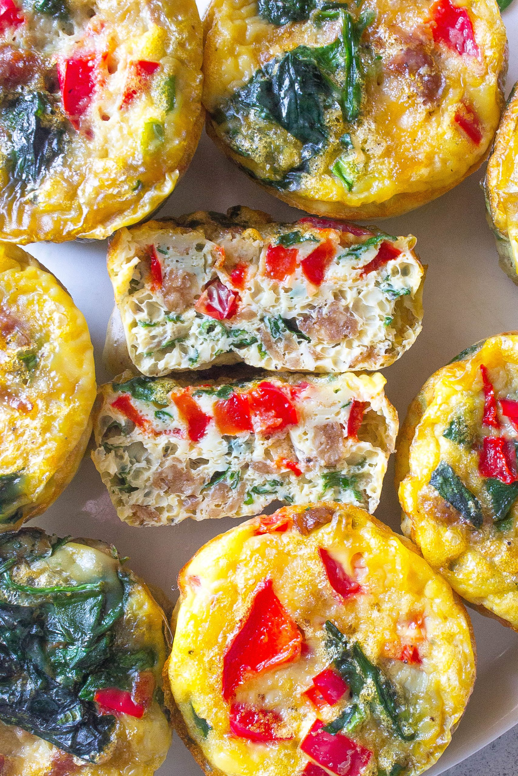 Meatless Veggie Omelette Bites perfectly cut