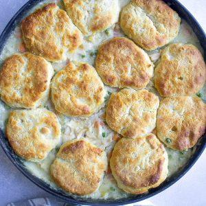 Skillet Chicken Pot Pie with Biscuits
