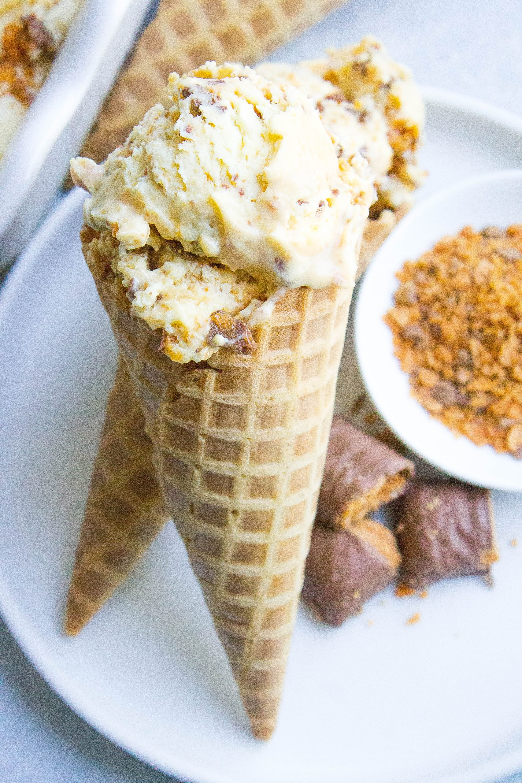 Easy Butterfinger Ice Cream on ice cream cone