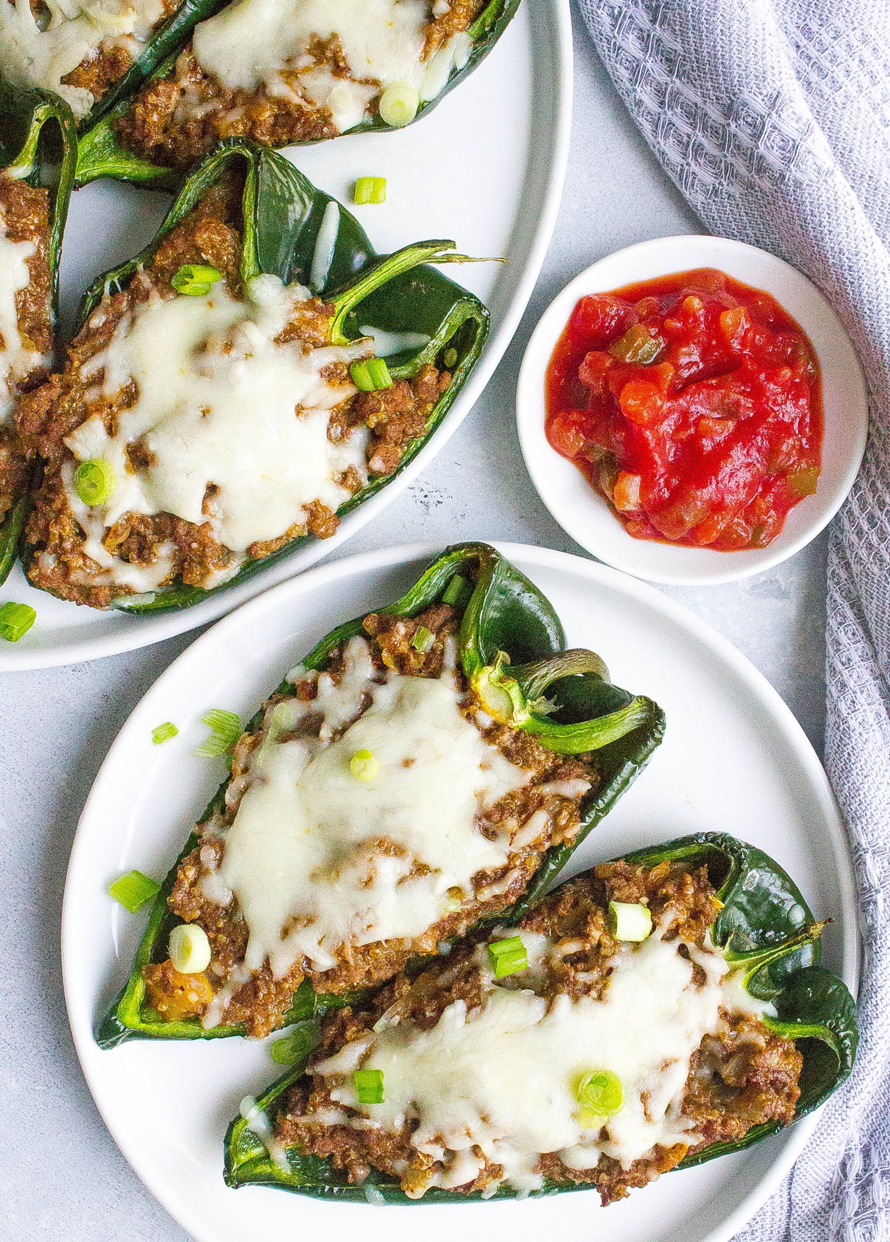 Beef Stuffed Poblano Peppers on plate