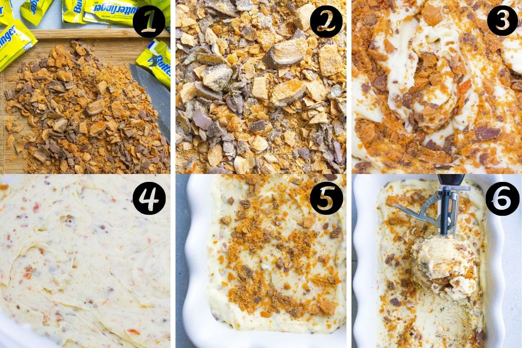 Easy Butterfinger Ice Cream steps