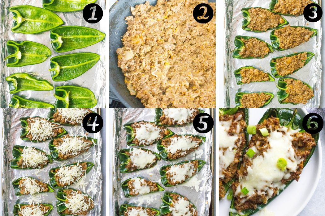 Beef Stuffed Poblano Peppers steps