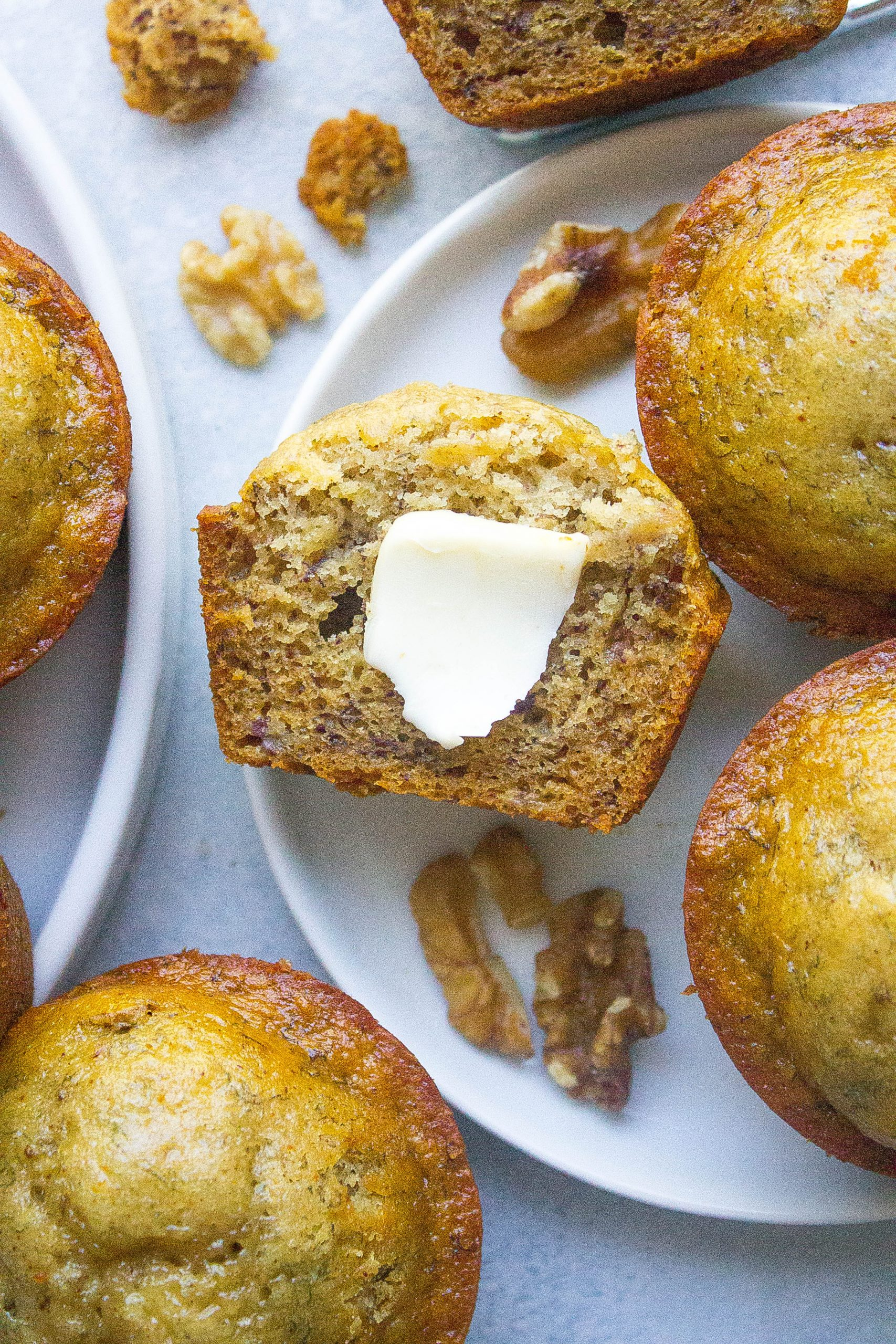 Healthy Banana Nut Muffins with butter on top