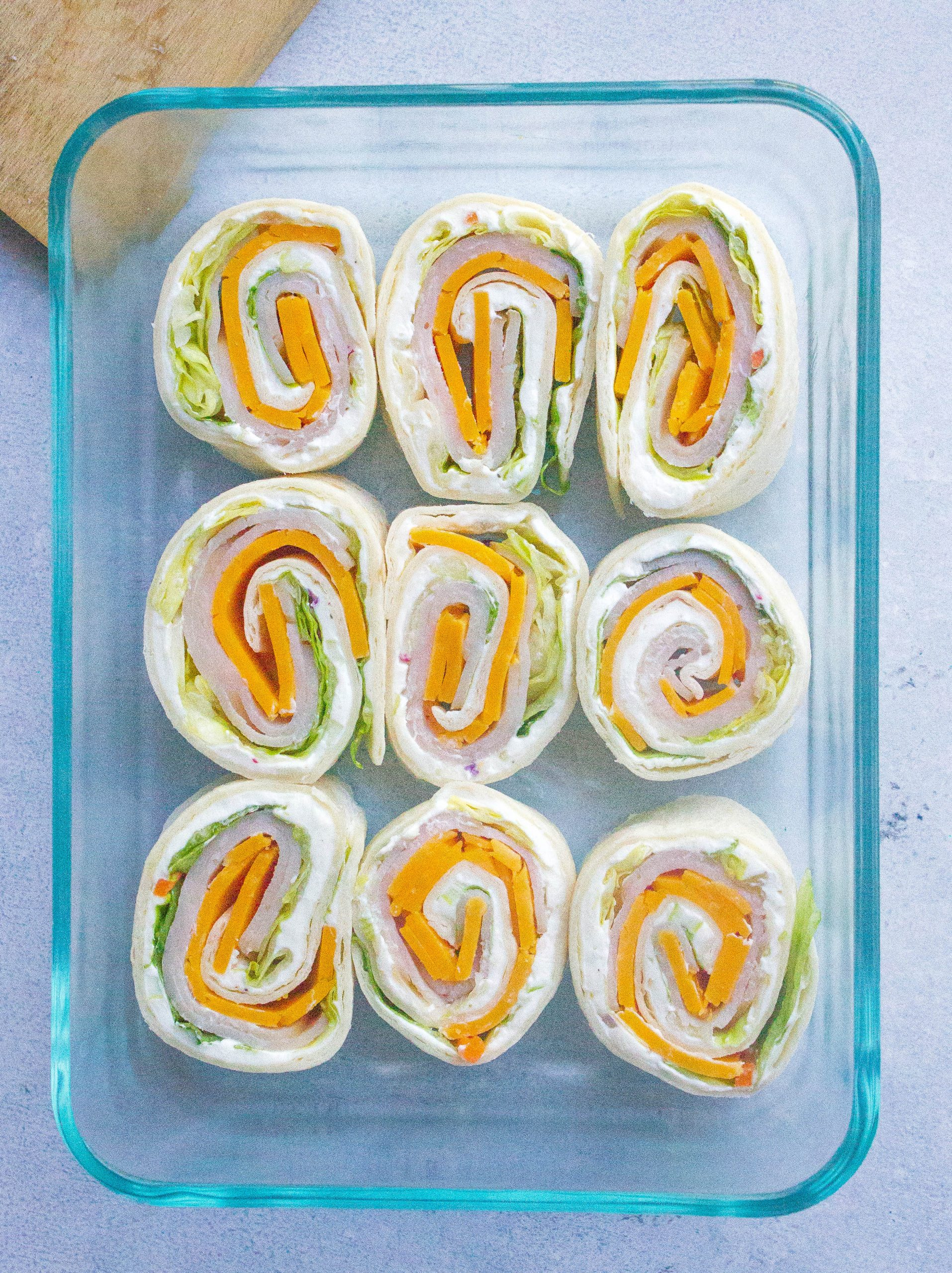 Turkey Cheddar Lunch Roll Ups in container