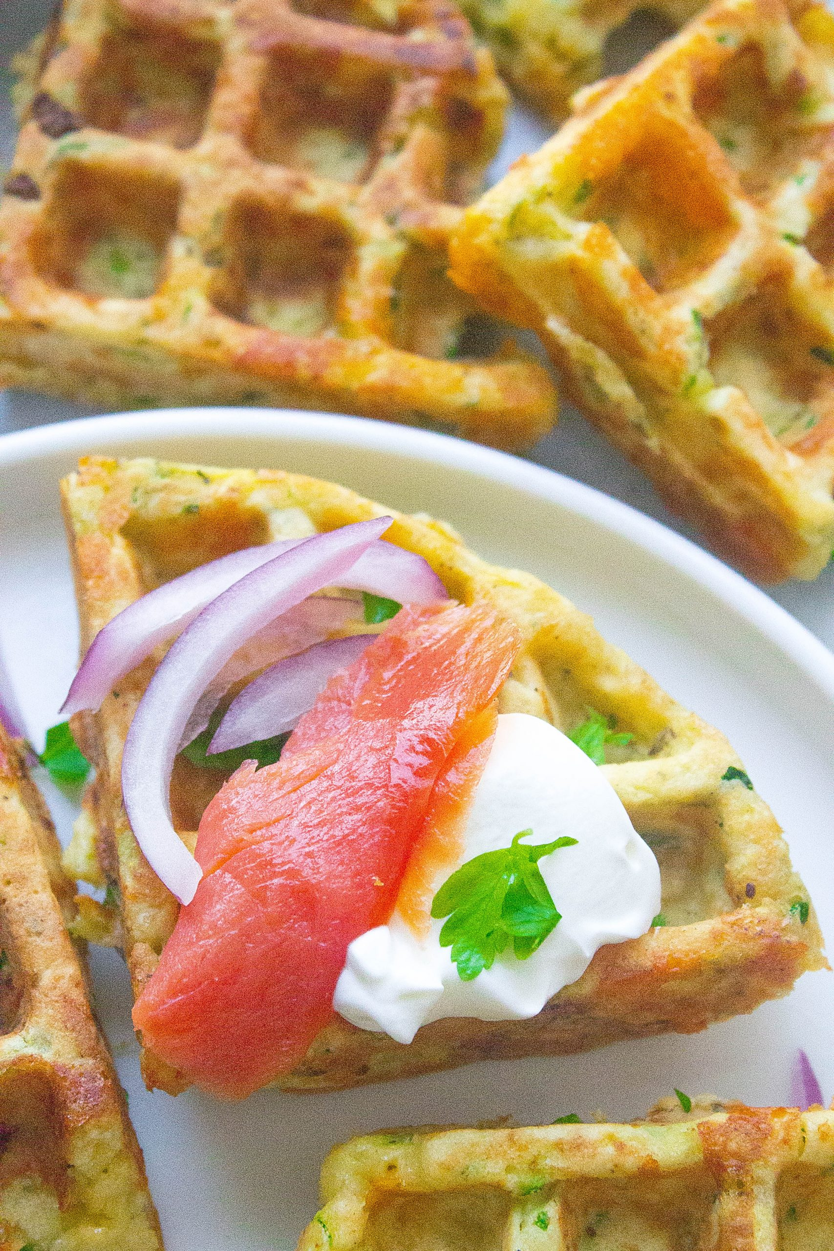 Zucchini Cheddar Waffles with salmon