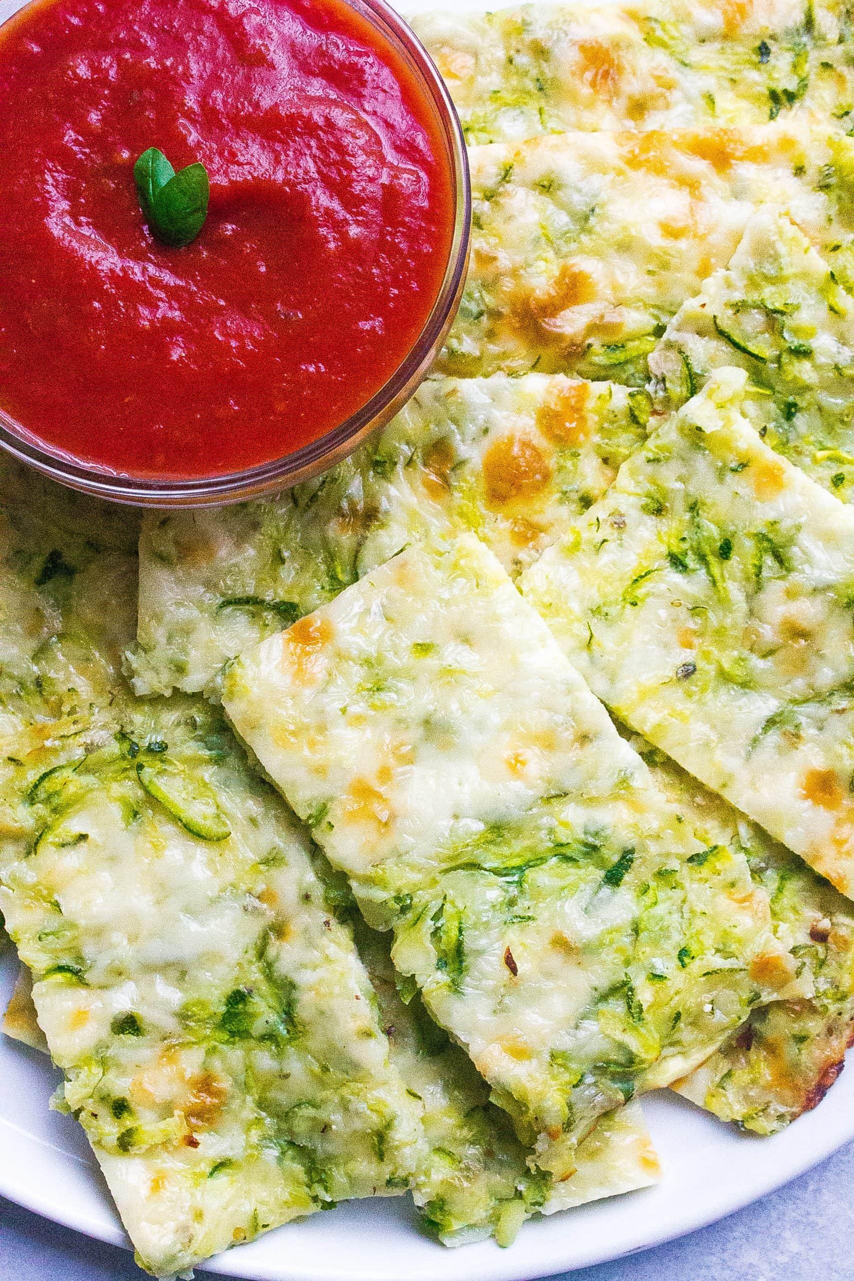 zucchini cheese bread with marinara sauce
