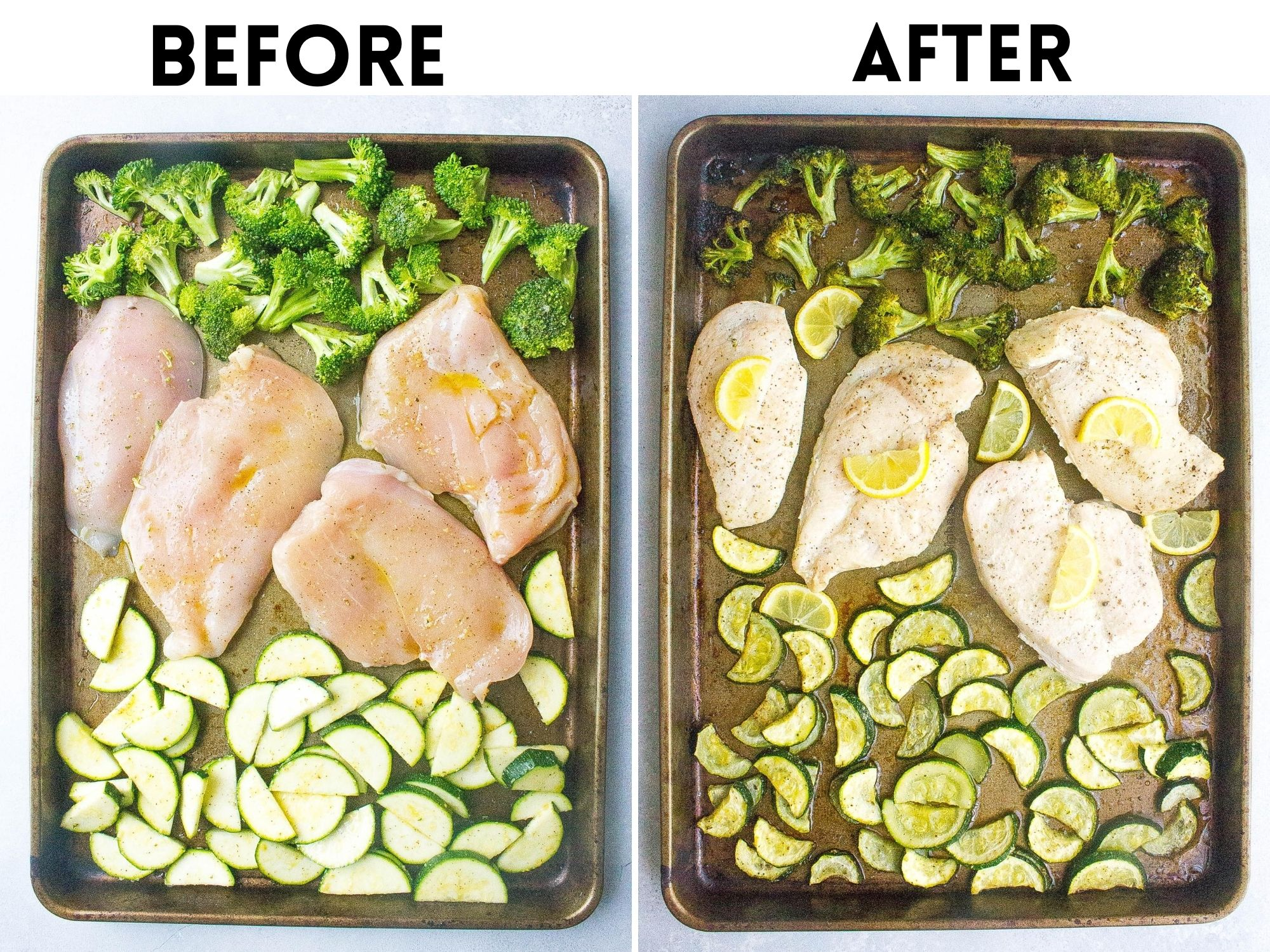 before and after Sheet Pan Chicken and Veggies