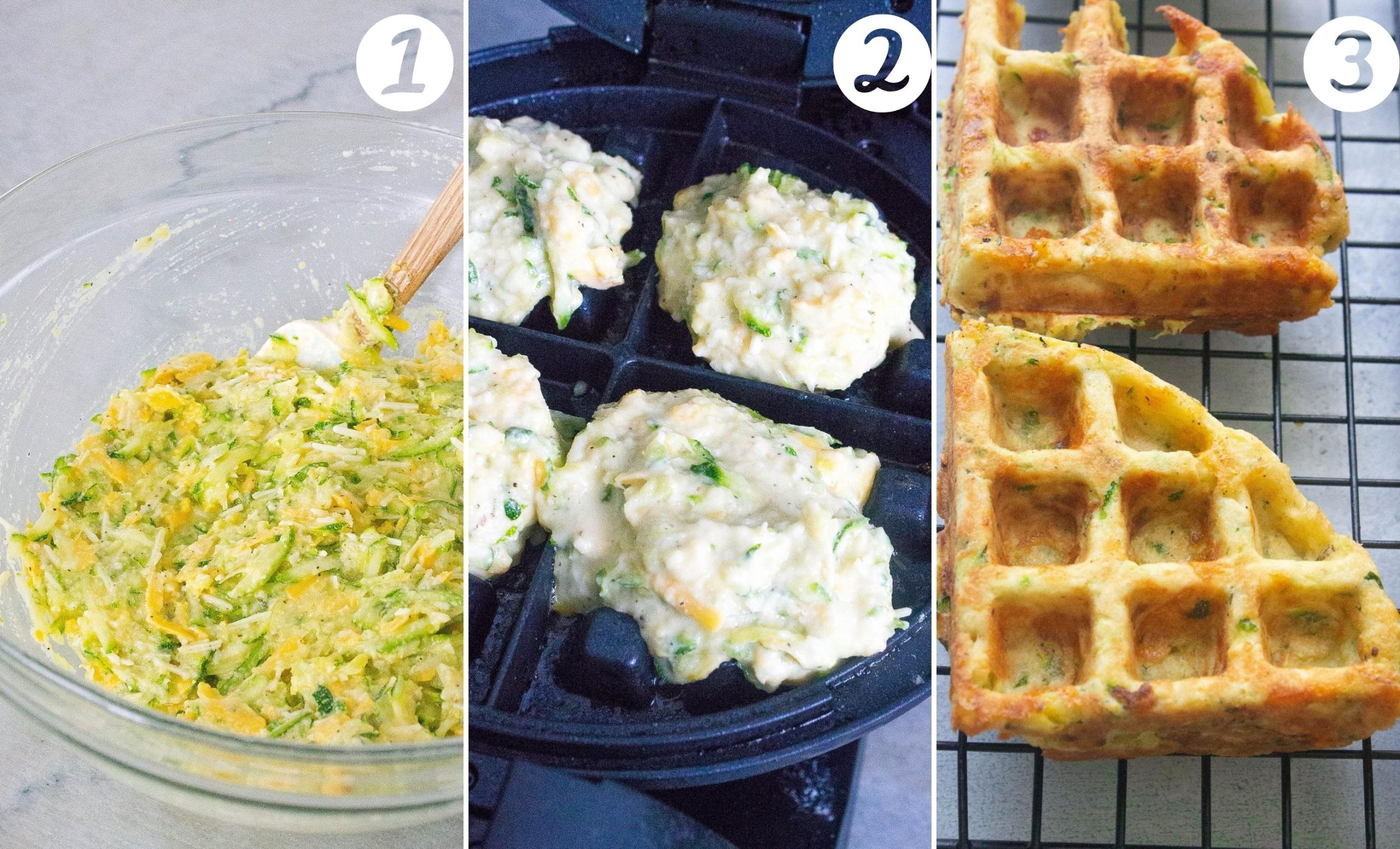 steps to make zucchini cheddar waffles