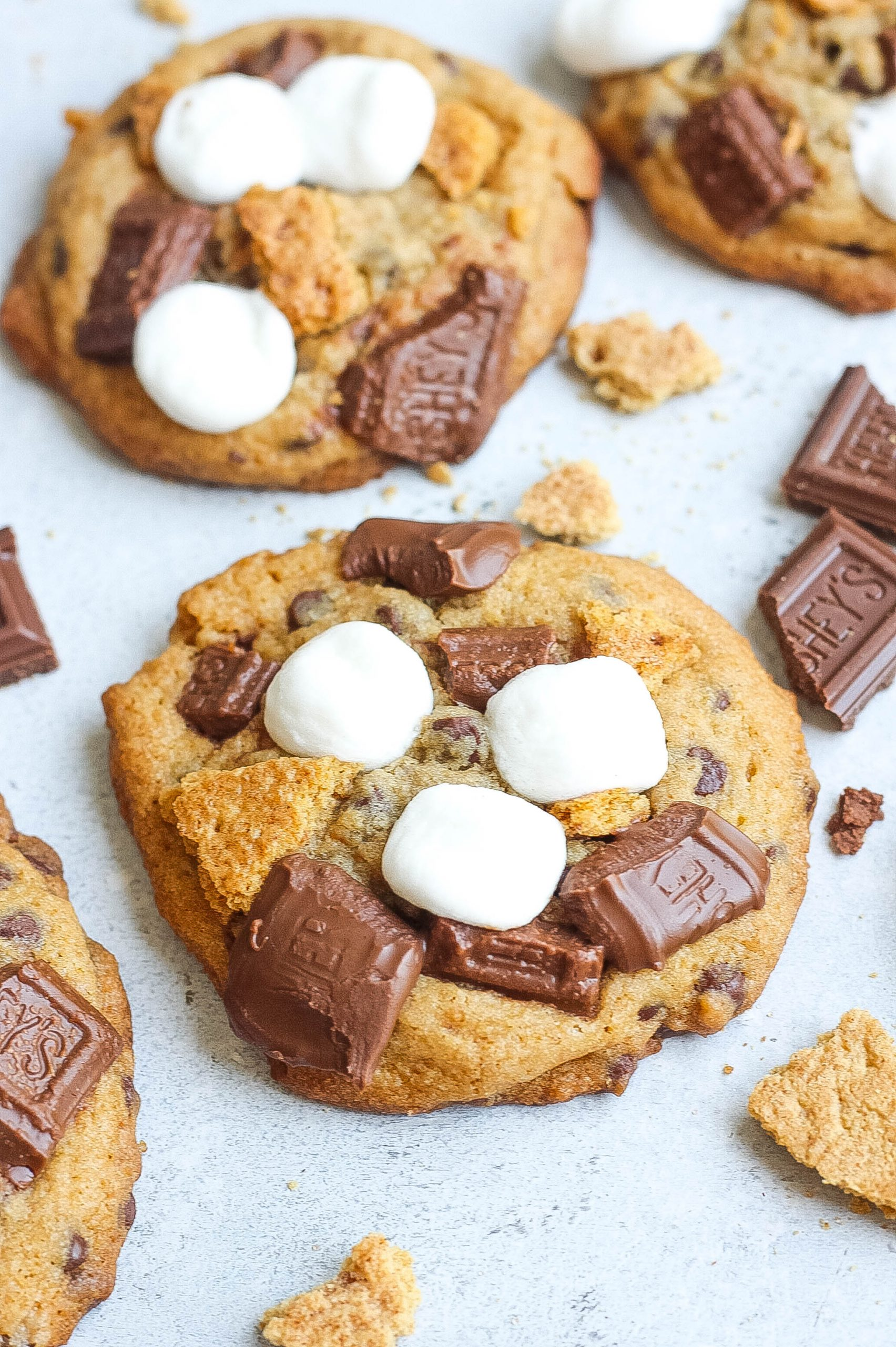 close up of smores cookies