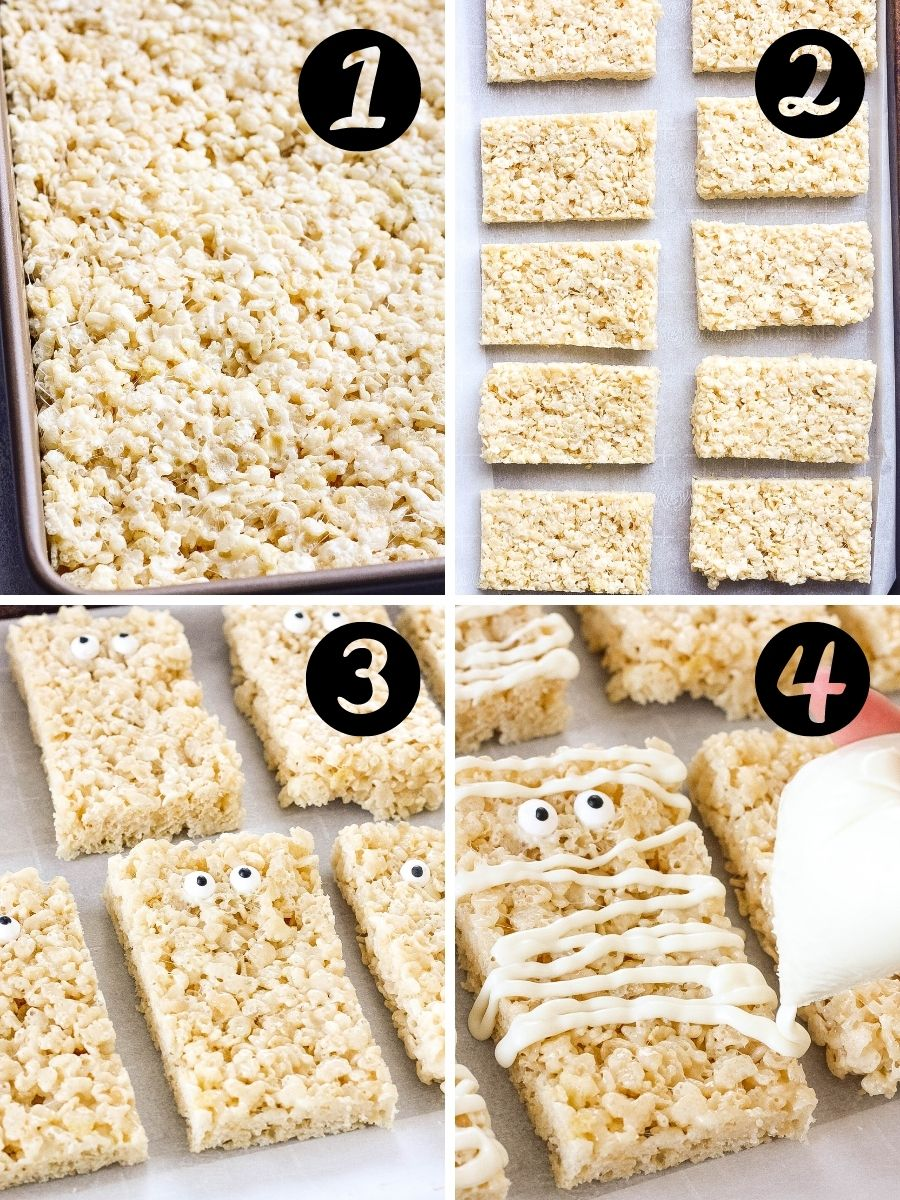 Mummy Rice Krispie Treats steps
