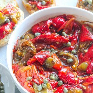Italian Roasted Bell Peppers (Vegetarian, Vegan, GF)
