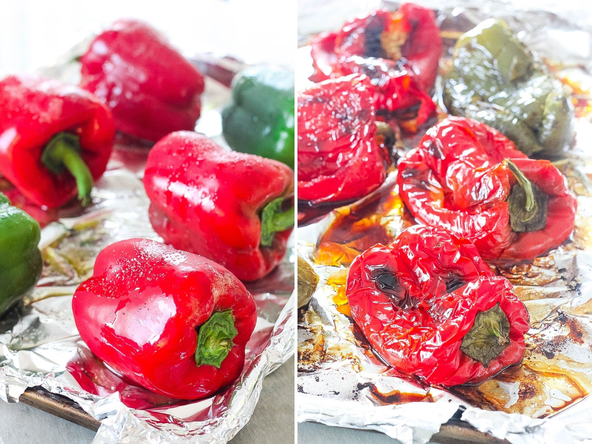 roasted bell peppers before and after