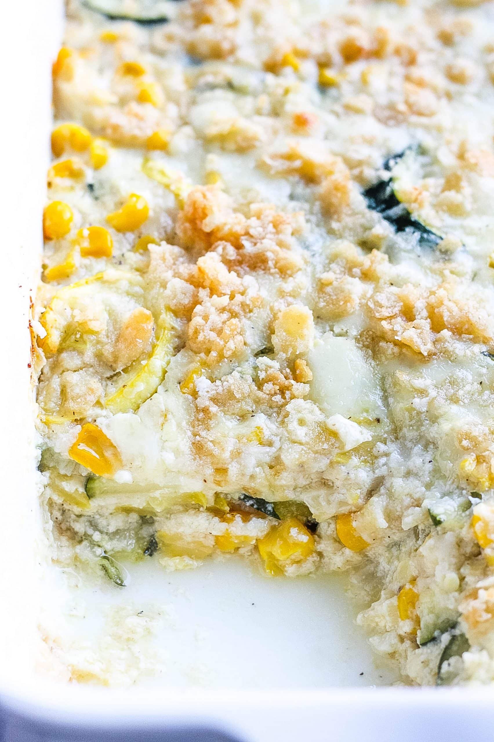 Cheesy Zucchini, Squash and Corn Bake