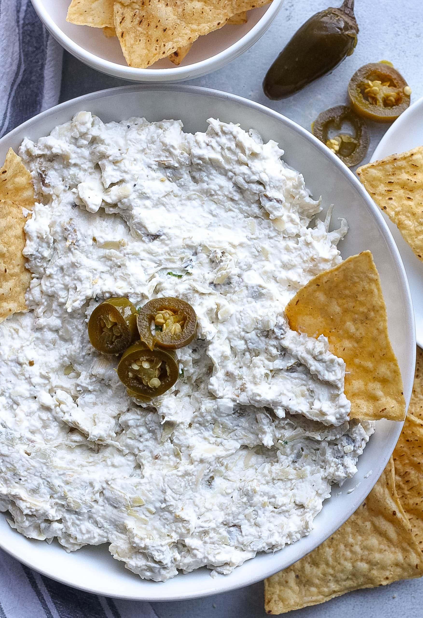Artichoke Jalapeño Dip with chips