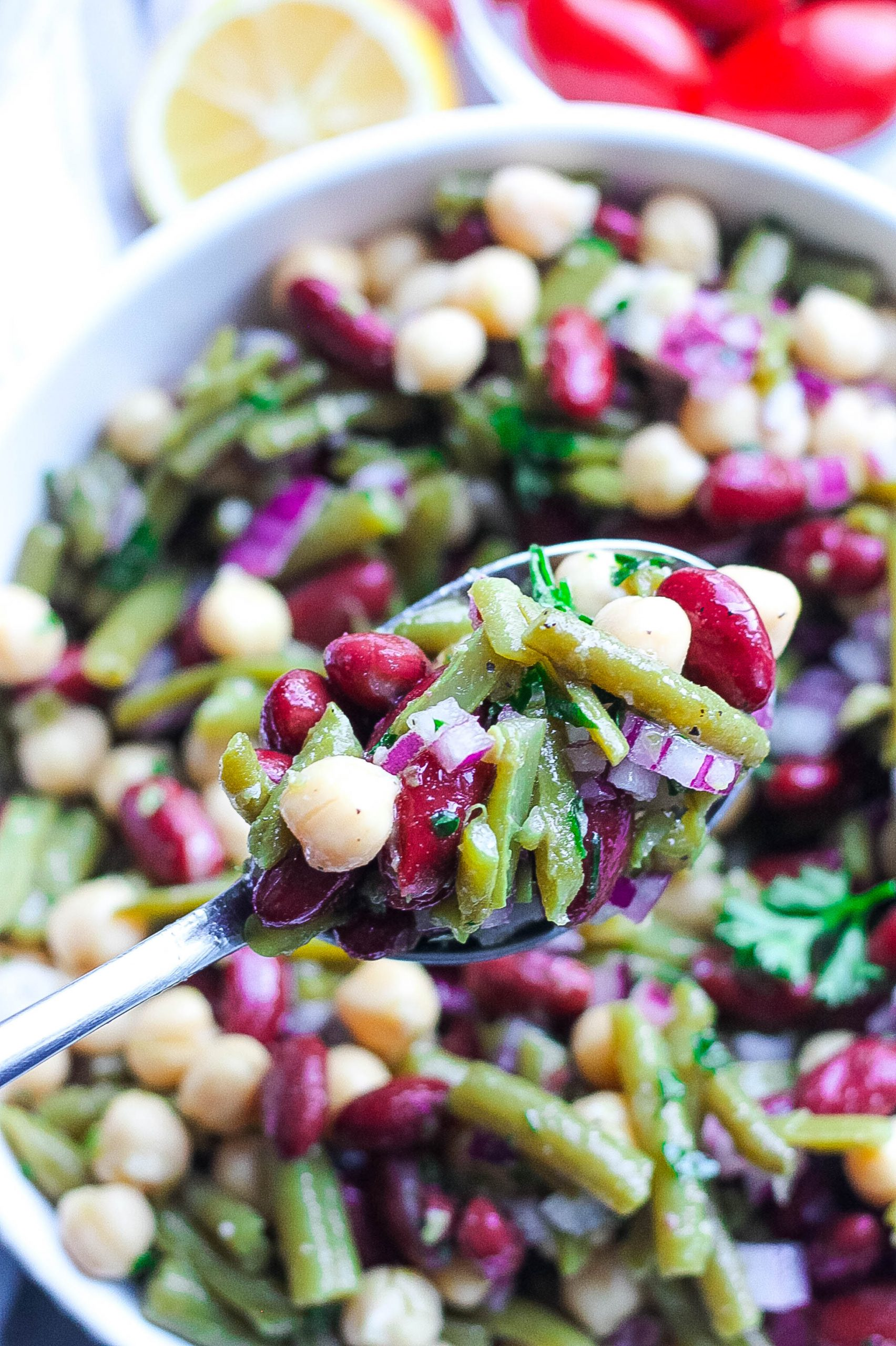3 bean salad on spoon