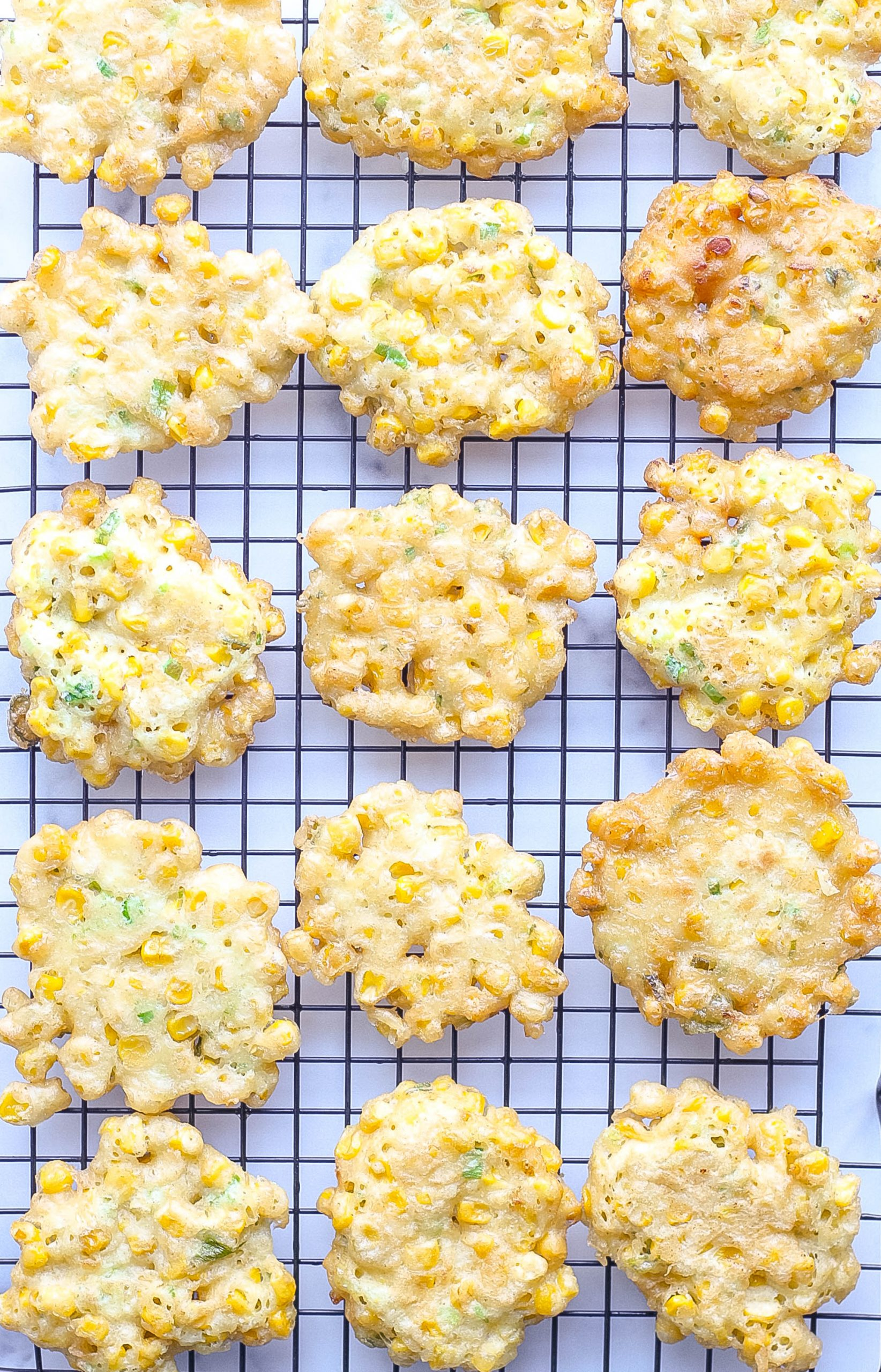 Corn Fritters on cooling rack