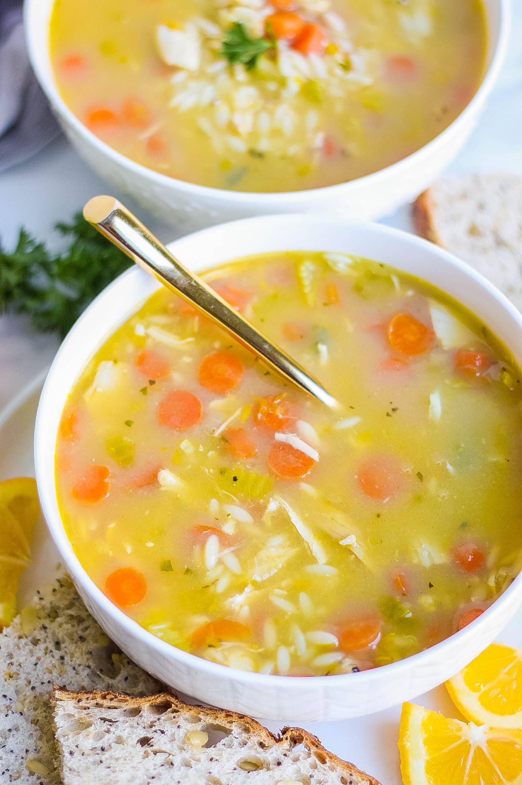 Bowl of lemon chicken orzo soup