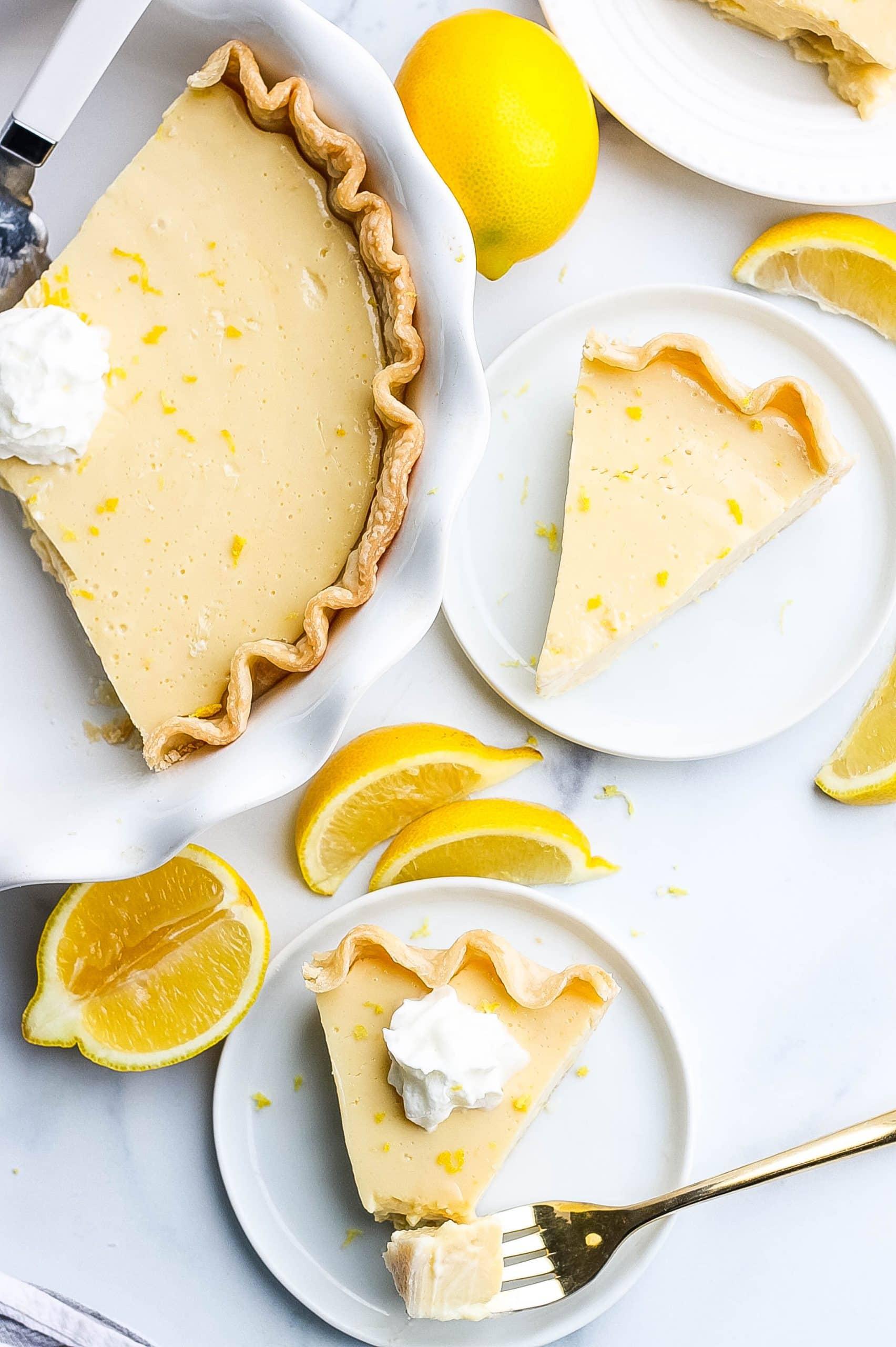slices of pie and fresh lemons