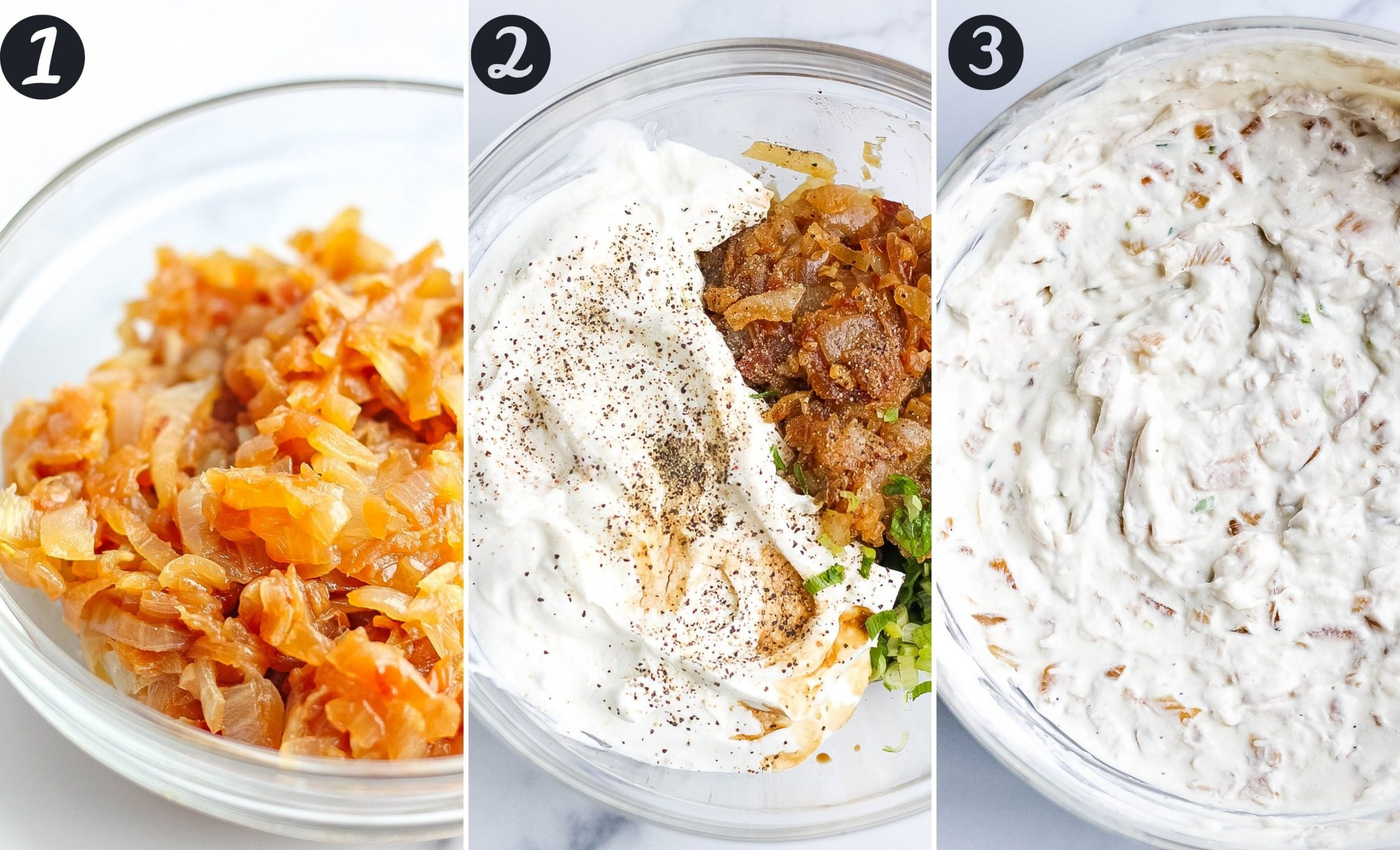 French onion dip steps