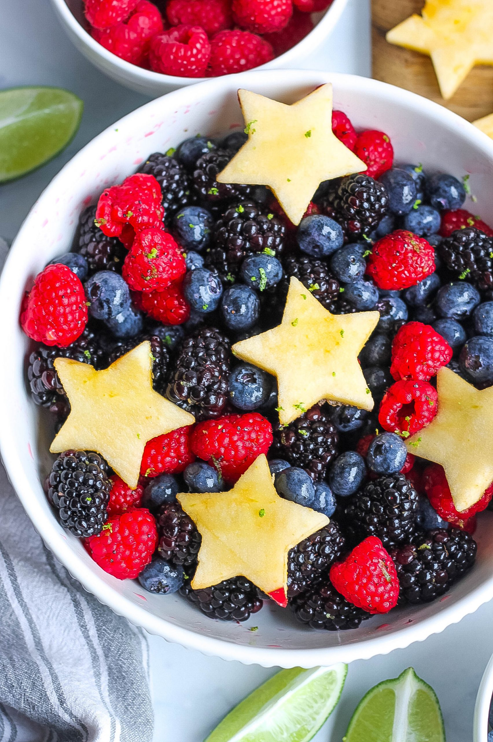 Berry Fruit Salad with apple stars