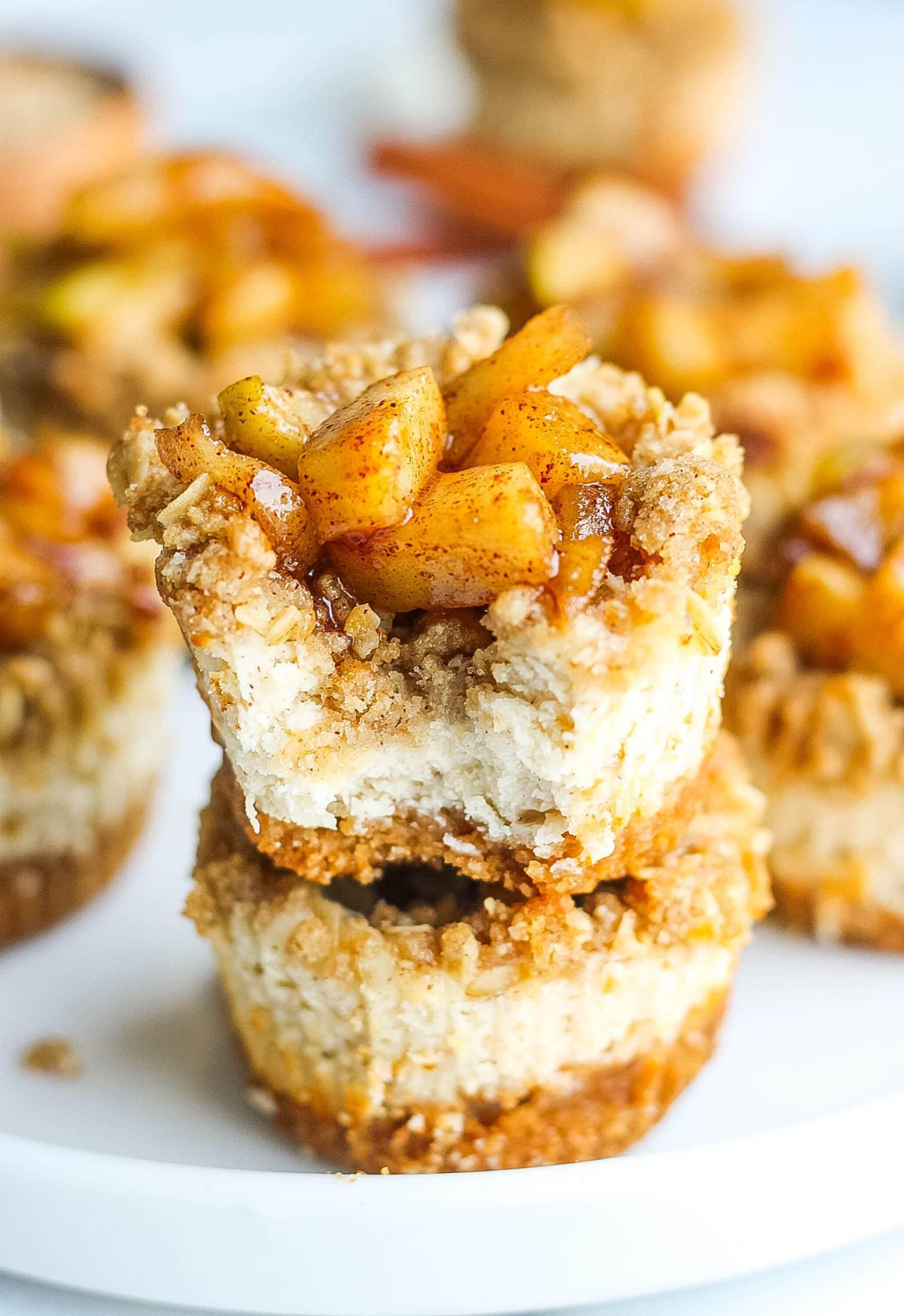 apple pie cheesecake bites on plate