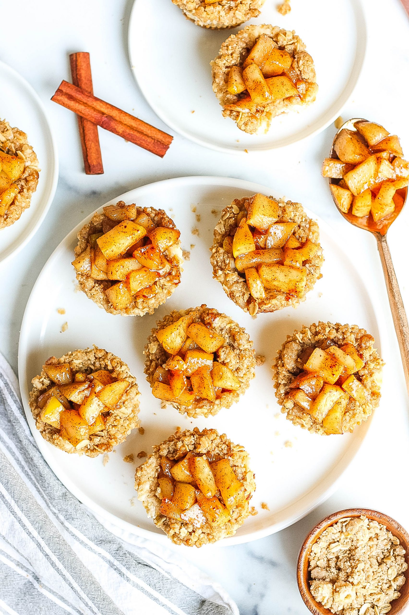 Apple Pie Cheesecake Bites with apple streusel topping