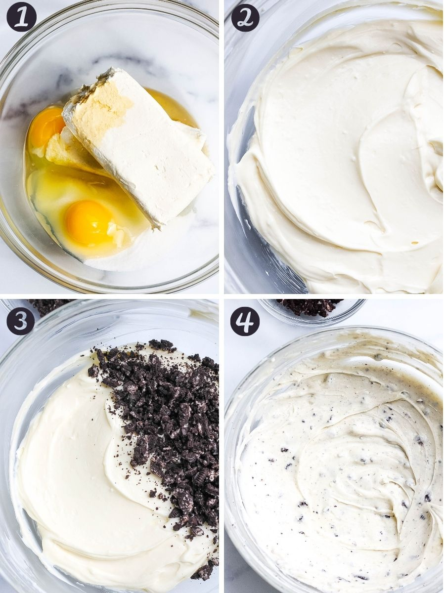 Oreo cheesecake steps