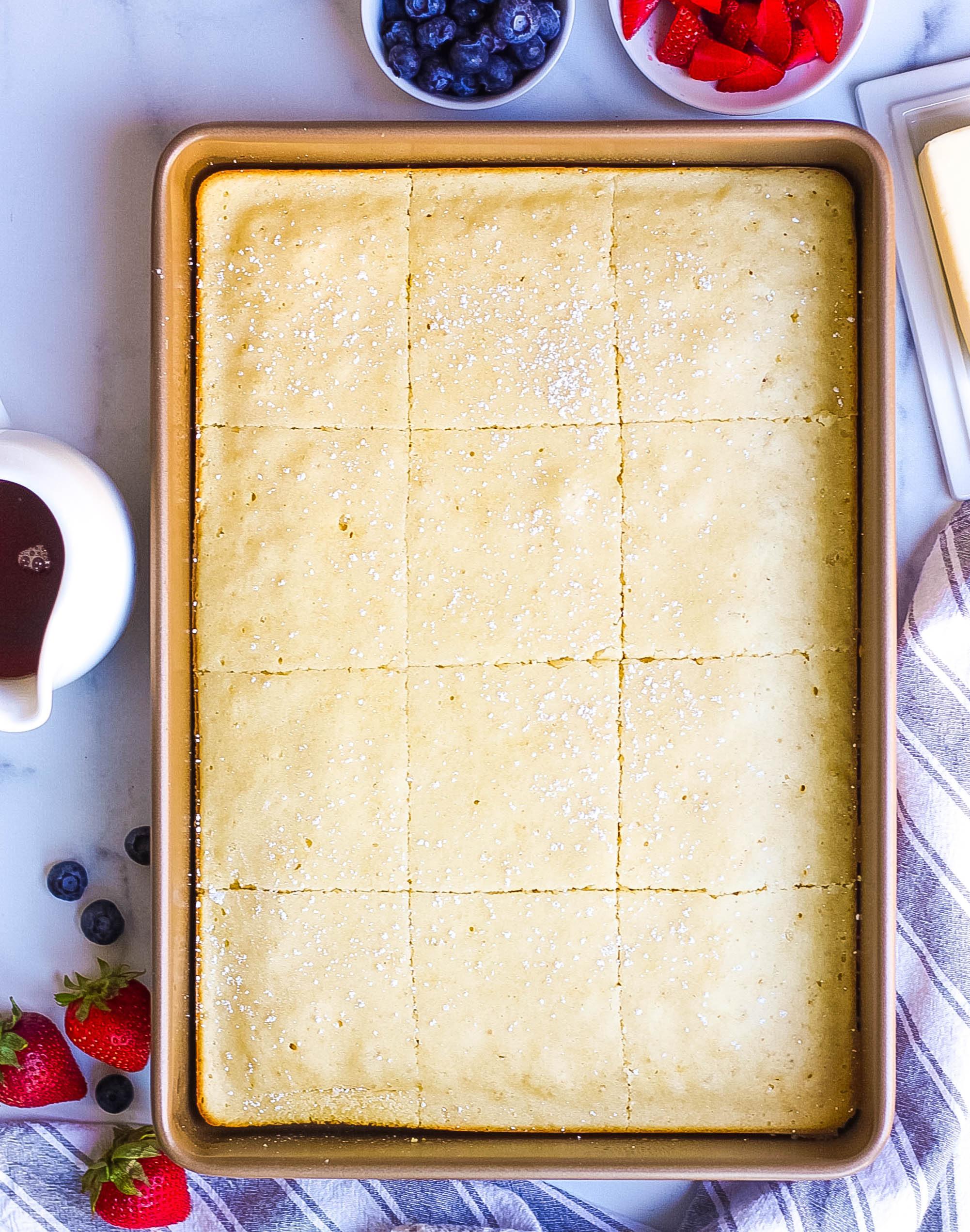 baked pancakes cut into squares