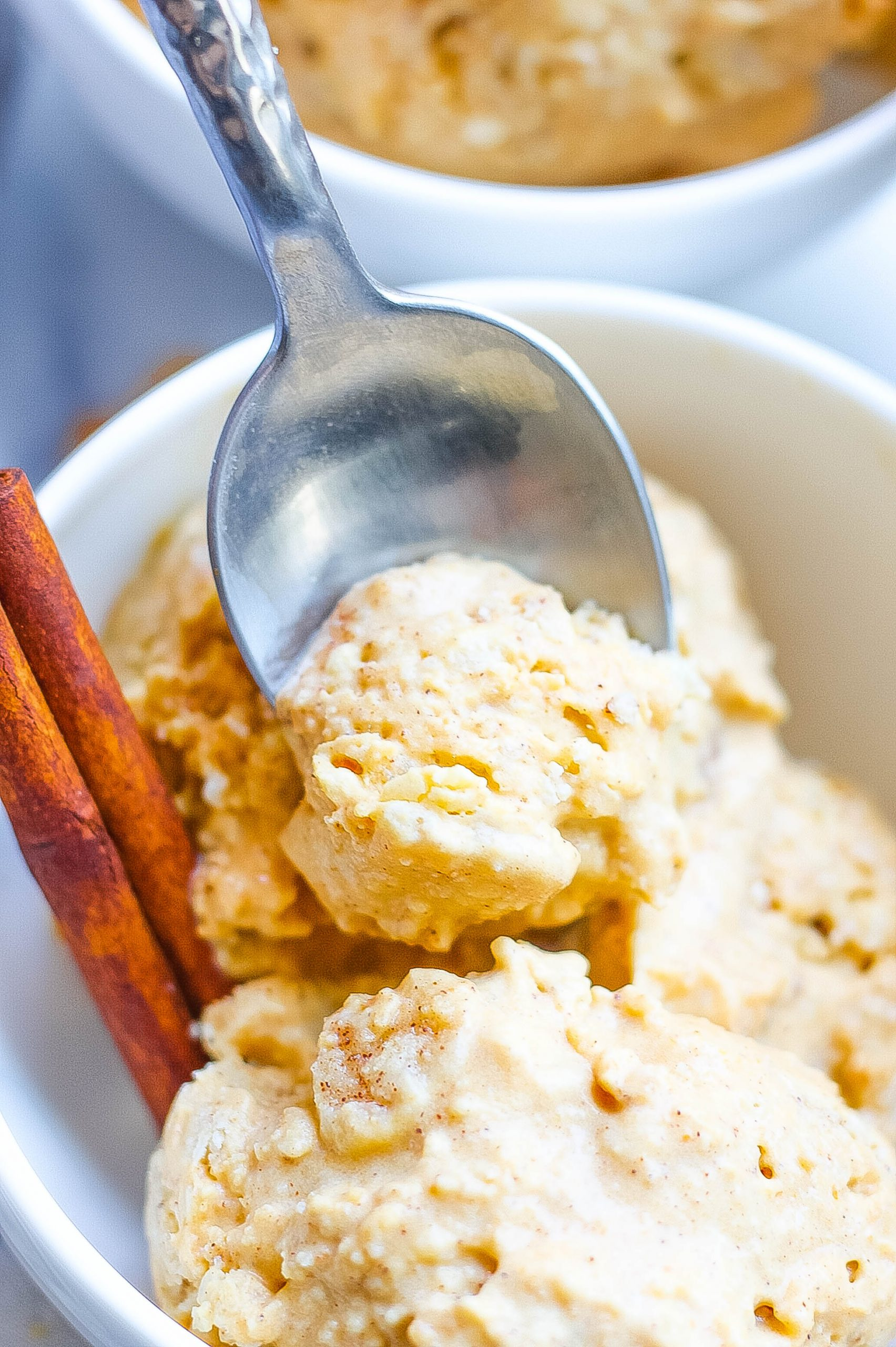 close view of pumpkin pie ice cream with spoon