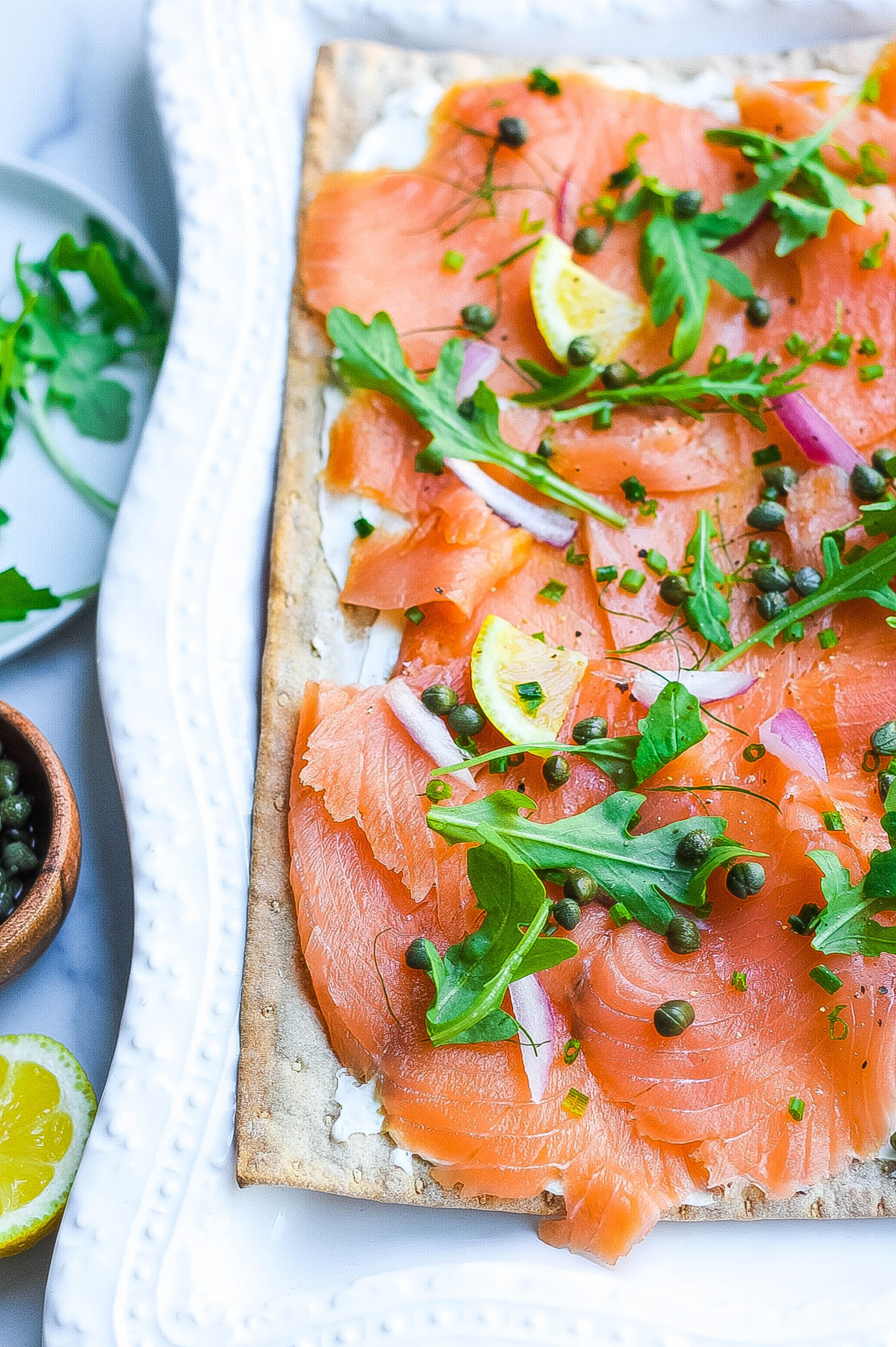 Smoked Salmon Flatbread with herb cream cheese