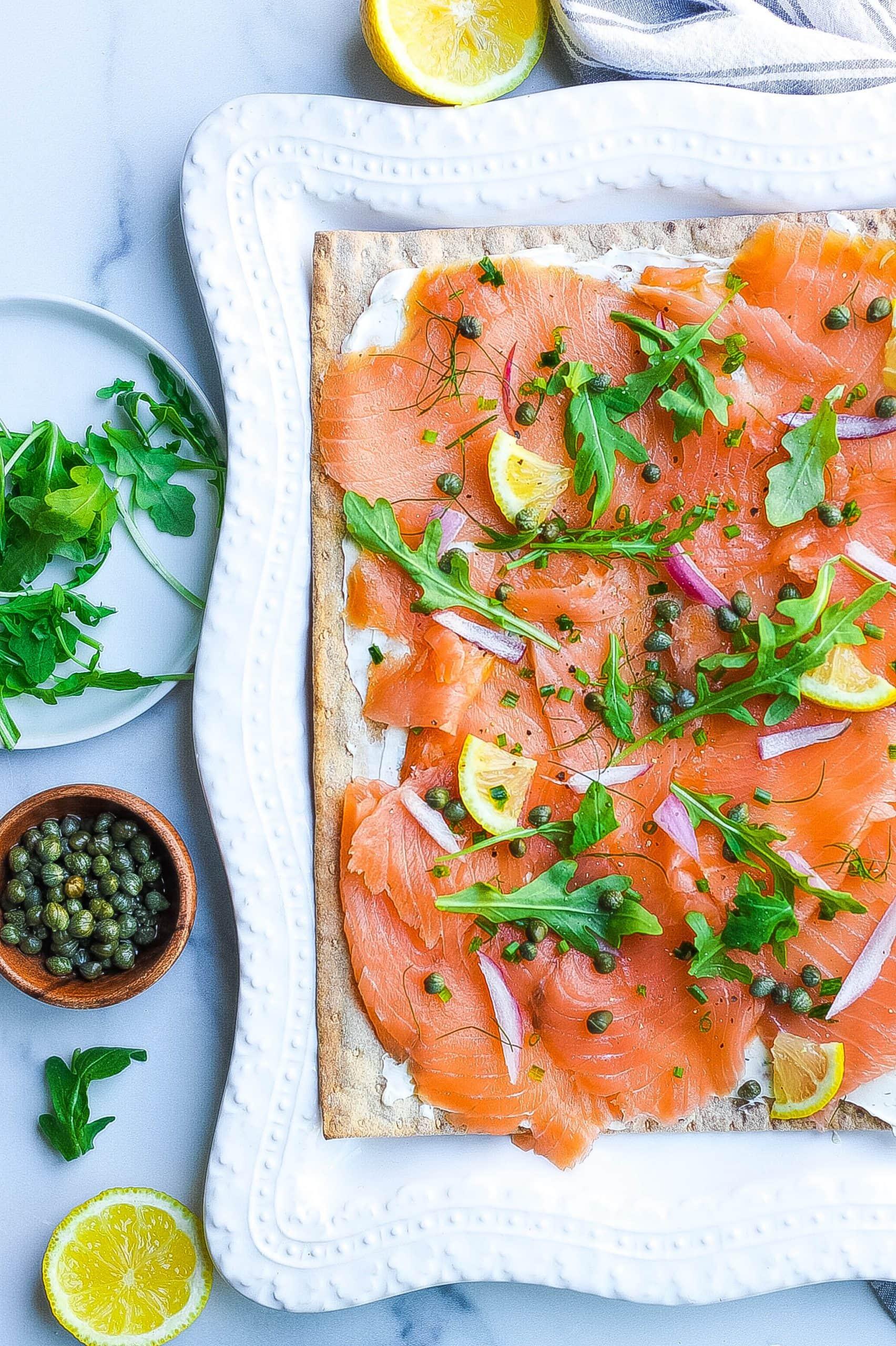 Smoked Salmon Flatbread on platter