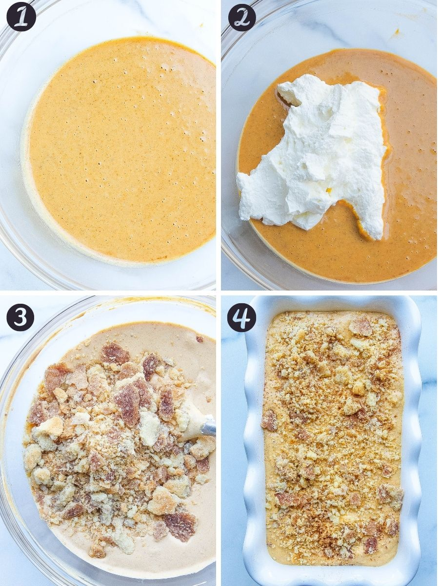 pumpkin mixture with heavy cream in bowl and cinnamon crust crumbles with cream mixture in bowl and loaf pan