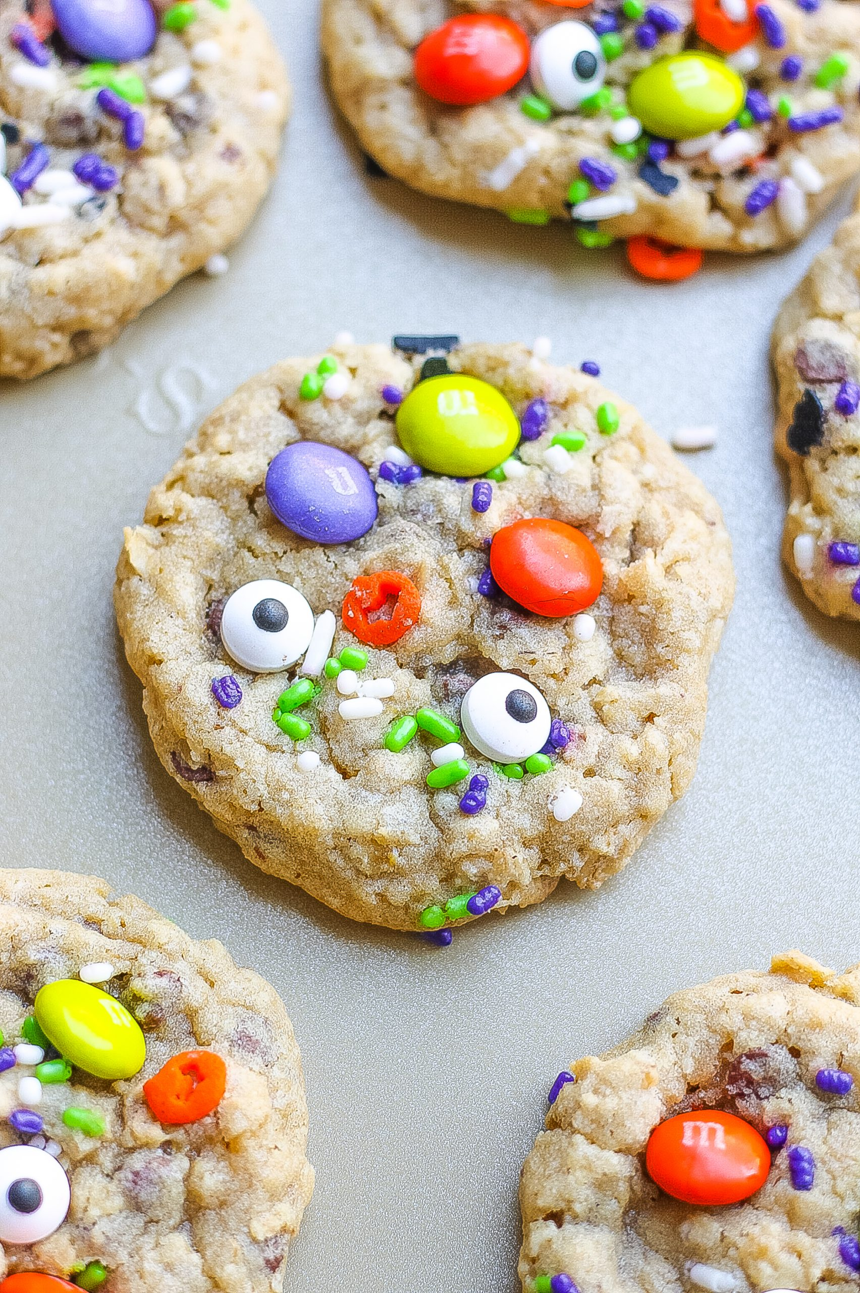 monster cookie recipe on cookie sheet